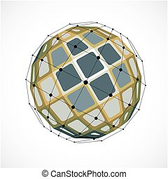 Perspective technology shape with black lines and dots connected, polygonal wireframe object. Abstract colorful faceted element for use as design structure on communication technology theme