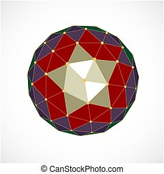 Perspective technology shape with lines and dots connected, polygonal wireframe object. Abstract colorful faceted element for use as design structure on communication technology theme
