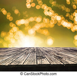 perspective textured of  top old wood table with beautiful blur background use for multipurpose backdrop copy space and product displayand showing