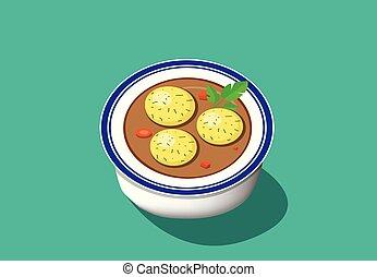 Perspective view, Matzoh ball soup, vector design - ...
