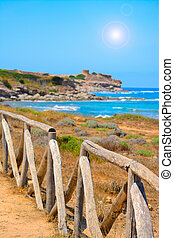 perspective view of a wooden palisade by the sea