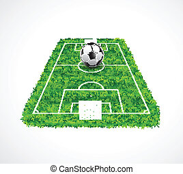 Perspective view of an empty soccer field with realistic grass t