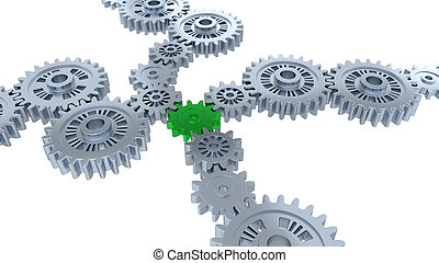 Perspective View of Several Silver Gears and One Green