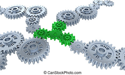 Perspective View of Several Silver Gears and Four Green