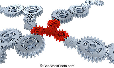 Perspective View of Several Silver Gears and Four Red