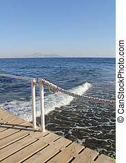 Perspective view of wooden pier