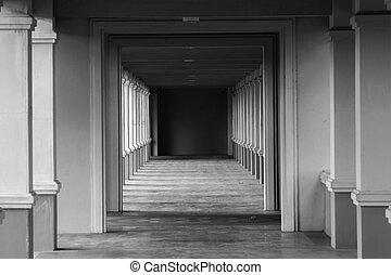perspective view through several open doors
