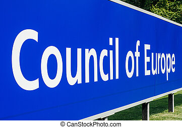 Perspective view of Council of Europe main signage in front of the building. The Council of Europe (CoE; French: Conseil de l'Europe) is an advisory international organisation promoting co-operation between European countries in the areas of legal standards, human rights, democratic development, the...
