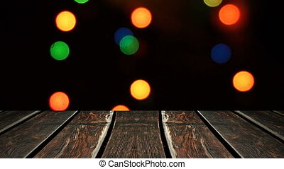 Perspective wood and bokeh background of night and the...
