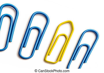Perspective yellow paperclip