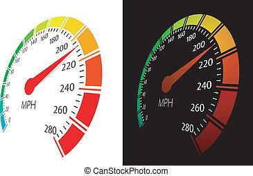 perspektiv, vektor, hastighetsmätare, synhåll