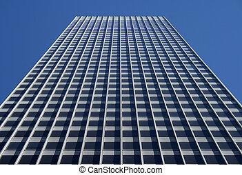 perspektive, ansicht, von, der, graue , bürogebäude