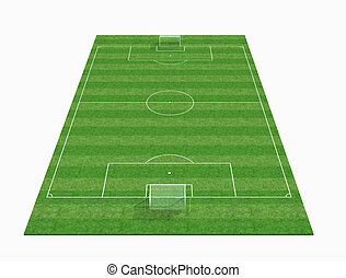 perspektive, ansicht, von, ein, leerer , fußball feld, -3d,...