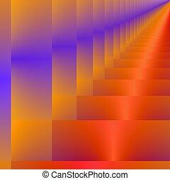 perspektive, in, orange, und, purple.