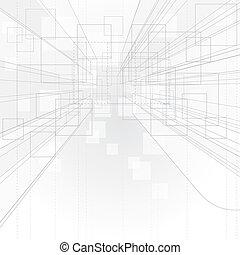 perspektivní, nárys, grafické pozadí