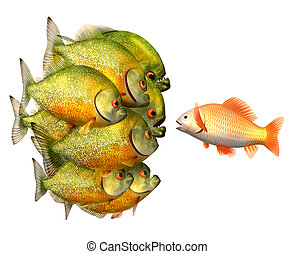 Persuasion concept, goldfish and piranhas,3d illustration with work-path