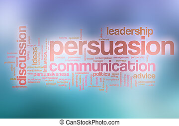 Persuasion word cloud with abstract background