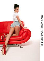 Pert Pinup Girl On Red Sofa - Beautiful pert leggy retro ...