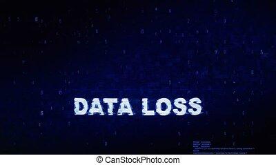 perte, bruit, texte, animation., numérique, effet, déformation, glitch, erreur, tic, données