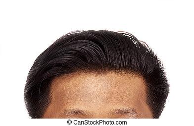 perte cheveux, blanc, isolé, fond