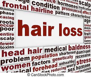 perte cheveux, message, fond