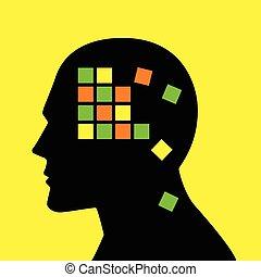 perte, concept, alzheimer, esprit, maladie, graphique, mémoire, ou