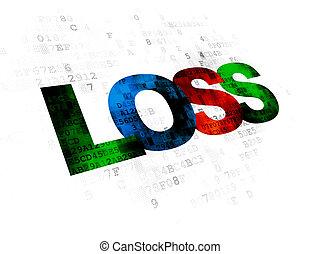 perte, concept:, finance, fond, numérique