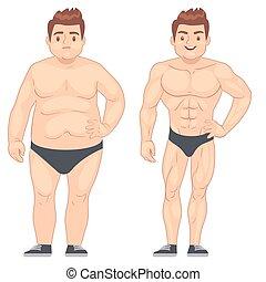 perte, concept, style de vie, poids, musculaire, après, régime, sports., vecteur, graisse, type, homme, dessin animé, avant
