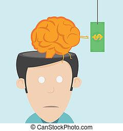 perte, drain., talent, cerveau
