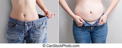 perte, femme, concept, abdomen