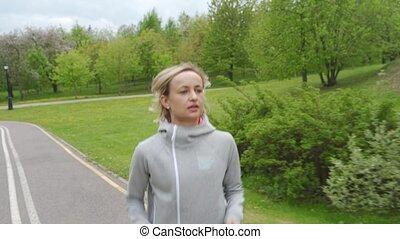 perte, femme, poids, coureur, concept., -, courant, dehors, formation