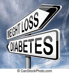 perte, ou, poids, diabète