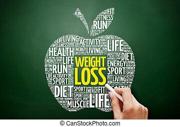 perte, poids, mot, pomme, nuage