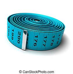 perte, poids, -, régime, plastique, mètre à ruban