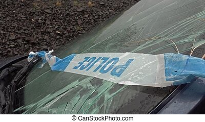 perte, police, pare-brise, barrière, cassé, voiture, bande, essieu, fracture, total