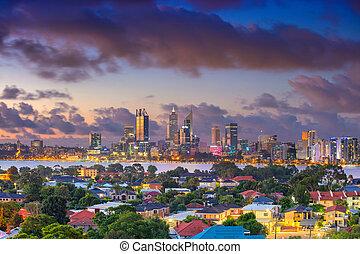 Perth. - Aerial cityscape image of Perth skyline, Australia ...
