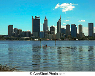 perth and kayaker on the swan river