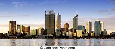 Perth at Dusk - Perth, Western Australia, at dusk, with Swan...