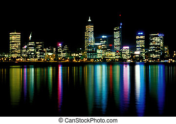 Perth at Night - View of Perth CBD from across the Swan ...