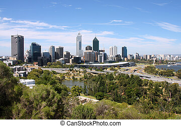 Perth, Australia. City wide skyline view from Kings Park. ...