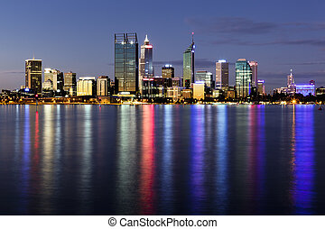 Perth by Night - Perth, Western Australia, viewed at night...