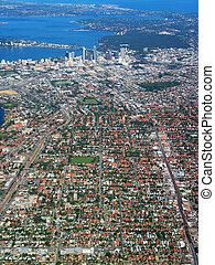 perth, byen, aerial udsigt, 1