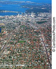 perth, cidade, vista aérea, 1