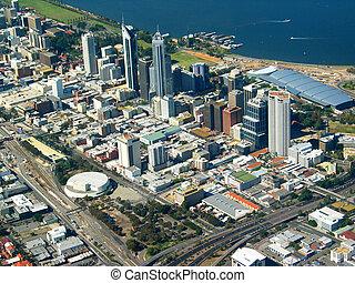 perth, cidade, vista aérea, 2