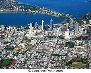 perth, cidade, vista aérea, 4