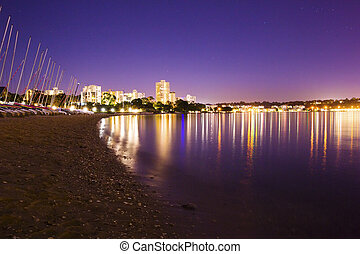 Perth city beach and boats at night - Cityscape, water and...
