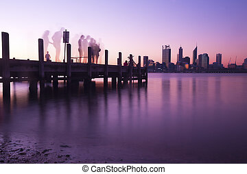 Perth city skyline and pier at night - Cityscape in Perth,...