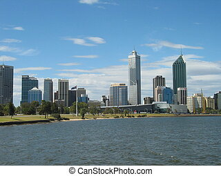 Perth City Skyline - tall buildings of Perth's (Western...