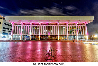 Perth Concert Hall at night from St. Georges Terrace. ...