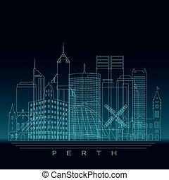 Perth skyline, detailed silhouette.